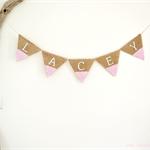 Personalised Bunting Custom Colours Hessian Burlap Boho Baby Shower Gift Decor