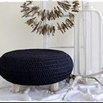 Large Crocheted Foot Stool Ottoman Driftwood Boho Homewares Furniture Bohemian