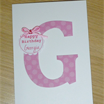 Personalised Happy Birthday card - monogram - boys or girls