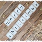 Boho Merry Christmas Hessian Burlap Bunting Banner Vintage Rustic