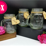 Personalised Engraved Wedding Mini Mason Jars and Tags Place Settings