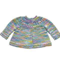 Cotton cardigan hand knitted.  Spring fashion.