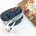 Leather and kimono fabric headphones cord wrap cable tidy - tan and blue