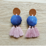 Leather Boho Dangle Stud Earrings Festival Blue & Pink Tassel