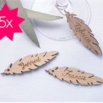 5 x Personalised Engraved Feathers for Wine Glass Stems