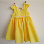 Tea Length Party Dress, Size 1. Flutter sleeve, cut out back, daisy trim OOAK.