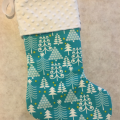 Personalised Christmas Stocking - Blue Trees