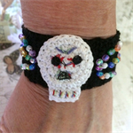 Hand Crocheted Skull Cuff with Crystal Beads