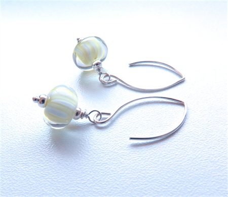 Tang Lemon Lime glass and sterling earrings