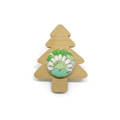 Kimono Christmas Tree Brooch - Green Floral