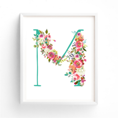 ANY LETTER Nursery Art, Monogram, Baby Girl Nursery Letter name printable