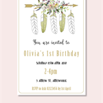 4x6 boho feather birthday party invite JPEG digital download