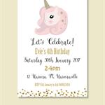 4x6 blush unicorn girl birthday invite JPEG digital download