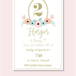 4x6 floral birthday invite JPEG digital download