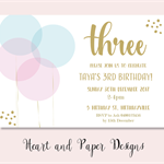 4x6 balloons birthday party invite JPEG digital download
