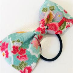 Bow hair elastic - AQUA -KIMONO / Japanese crape /  ponytail / FREE SHIPPING