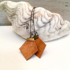 Tan leather earrings, hexies