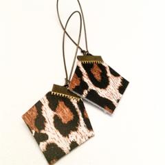 Leopard spot hexie, leather earrings