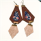 African fabric and leather earrings, rose gold leather, fringe