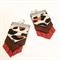 Red leather and leopard spots earrings