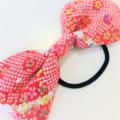 Bow hair elastic - PINK / Japanese crape / Kimono / ponytail / FREE SHIPPING