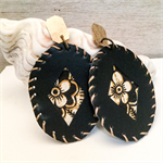 Black leather earrings, with African fabric