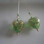 Emerald Green & Gold Murano Heart Earrings
