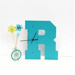 "WOODEN LETTER ""R"" CLOCK"