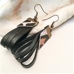 Black leather earrings, Leopard print,