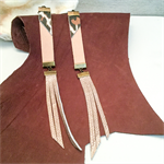 Long leather earrings, natural leather, rose gold, leopard print leather