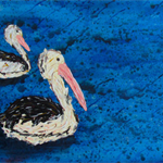 Pigeon Pair - Acrylic Pelican Painting on Canvas