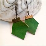 Green leather earrings