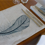Feather Placemat Set of 4 in Blue