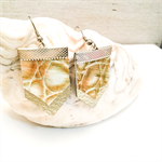 Embossed Leather earrings, with gold leather