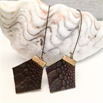 Chocolate brown leather earrings, hexie shapes