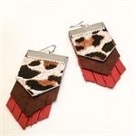 Red leather leopard spots earrings