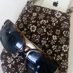 Bag organizer - BROWN - FLOWER / travel bag / wristlet