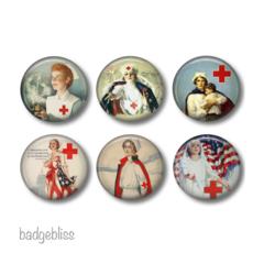 Fridge magnet set, Vintage nurse fridge magnets