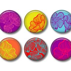 Fridge magnet set , Bloom, floral fridge magnets