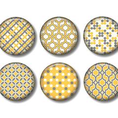 Fridge magnet set, Yellow and grey fridge magnets