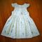 Size 3, Gathered Waist Party Dress, Tea Length. OOAK. Guipure Lace Daisy, Swans.