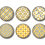 Fridge magnet set, Yellow and grey fridge magnets