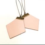 Raw leather earrings, hexies