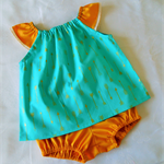 Flutter Sleeve Top and Nappy Cover Set. Aqua and Gold Metallic. Size 1 Only.