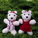 Christmas Teddy Bear soft toys. Hand knitted softies. Santa hat, scarf or dress.