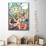 """The Sun and the Fox"" Hand drawn Art Print"