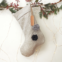 Linen Christmas Stocking with Leather name tag and Pom Poms