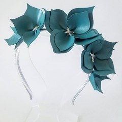 Teal Crown Headband, Leather Crown,Leather Flower Headpiece, Fascinator