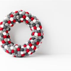 Christmas Wreath. Monochrome Scandi Christmas decoration. Red Grey Black White.