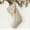Linen Christmas Stocking with Leather name tag